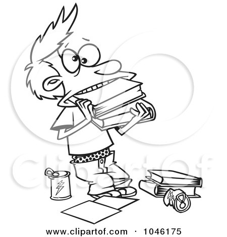 Royalty-Free (RF) Clip Art Illustration of a Cartoon Black And White Outline Design Of A Boy Cramming Books In His Mouth by toonaday