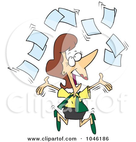 Royalty-Free (RF) Clip Art Illustration of a Cartoon Happy Businesswoman Tossing Paperwork by Ron Leishman