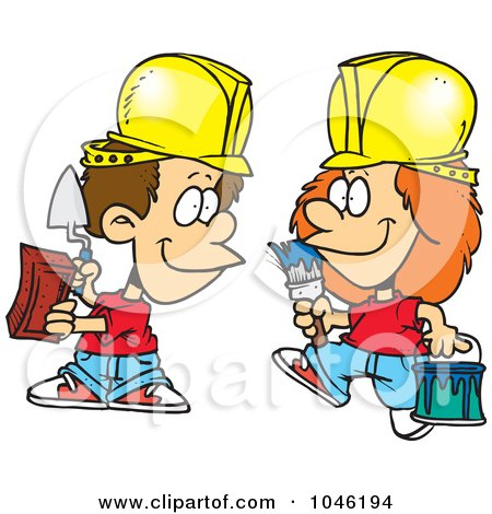 Royalty-Free (RF) Clip Art Illustration of Cartoon Construction Kids by toonaday