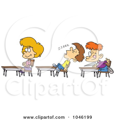 Royalty-Free (RF) Clip Art Illustration of a Cartoon Boy Napping In Class by toonaday