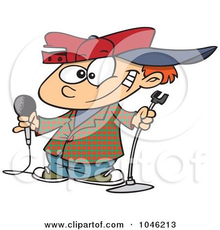 Royalty-Free (RF) Clip Art Illustration of a Cartoon Boy Comedian by toonaday