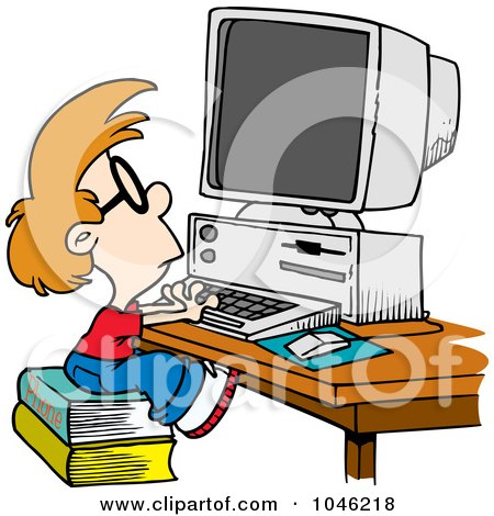 Royalty-Free (RF) Clip Art Illustration of a Cartoon Smart Boy Using A Computer by toonaday