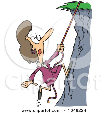 Royalty-Free (RF) Clip Art Illustration of a Cartoon Businesswoman Climbing A Hillside by toonaday