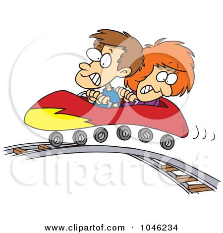 Royalty-Free (RF) Clip Art Illustration of a Cartoon Boy And Girl On A Roller Coaster by toonaday
