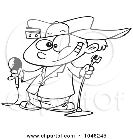 Royalty-Free (RF) Clip Art Illustration of a Cartoon Black And White Outline Design Of A Boy Comedian by toonaday
