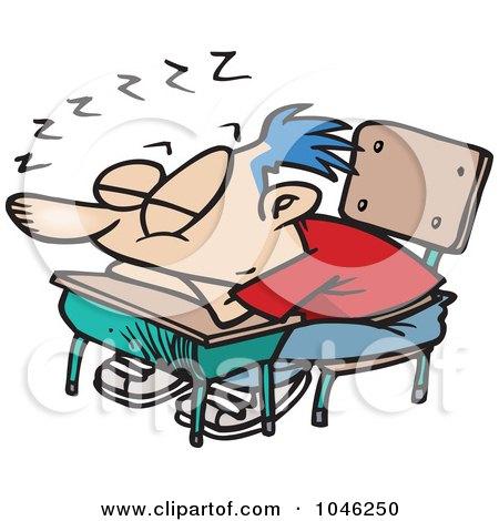Royalty-Free (RF) Clip Art Illustration of a Cartoon School Boy Sleeping On His Desk by toonaday