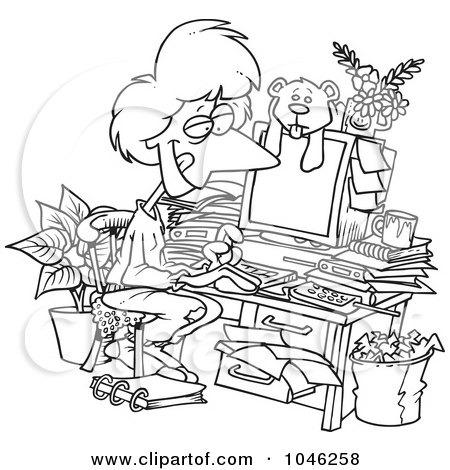 Royalty-Free (RF) Clip Art Illustration of a Cartoon Black And White Outline Design Of A Woman Working In Her Pjs In Her Cluttered Home Office by toonaday