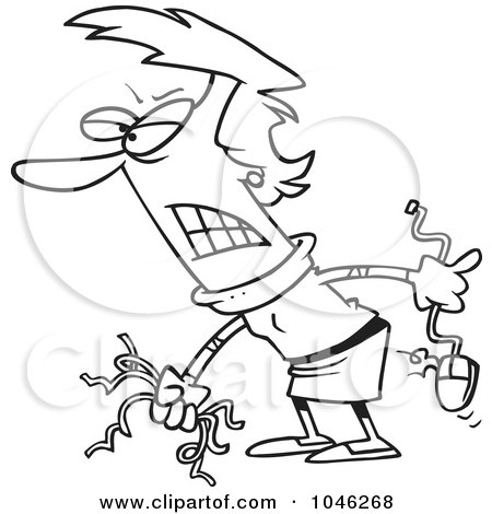 Royalty-Free (RF) Clip Art Illustration of a Cartoon Black And White Outline Design Of A Mad Businesswoman Holding Broken Computer Cables by toonaday