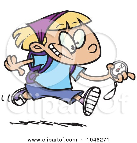 Royalty-Free (RF) Clip Art Illustration of a Cartoon Hiker Girl Running With A Compass by toonaday