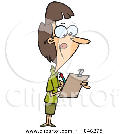 Royalty-Free (RF) Clip Art Illustration of a Cartoon Female Supervisor Using A Clip Board by toonaday
