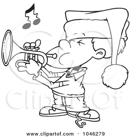 Royalty-Free (RF) Clip Art Illustration of a Cartoon Black And White Outline Design Of A Boy Playing Christmas Music On A Trumpet by toonaday