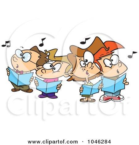 Royalty-Free (RF) Clip Art Illustration of Cartoon Choir kids Singing by toonaday
