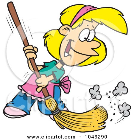 Royalty-Free (RF) Clip Art Illustration of a Cartoon Girl Sweeping by toonaday