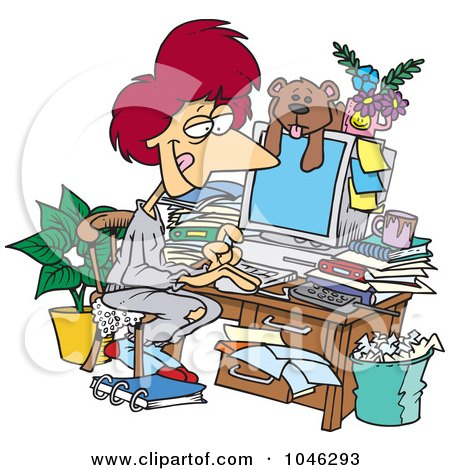 Royalty-Free (RF) Clip Art Illustration of a Cartoon Woman Working In Her Pjs In Her Cluttered Home Office by toonaday