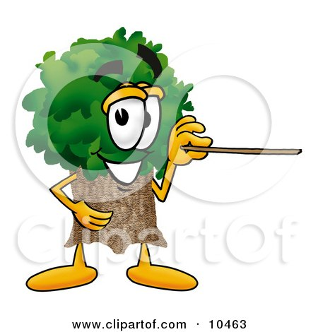 Tree Mascot Cartoon Character Holding a Pointer Stick Posters, Art Prints