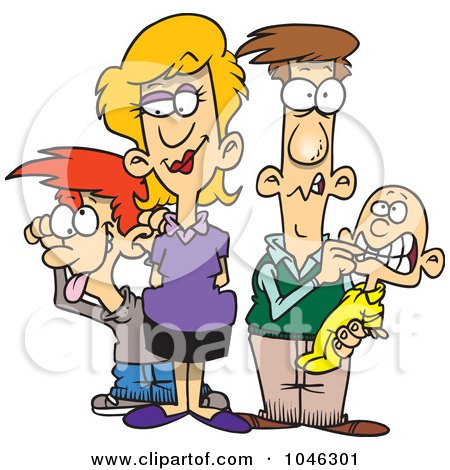 Royalty-Free (RF) Clip Art Illustration of a Cartoon Silly Family by toonaday