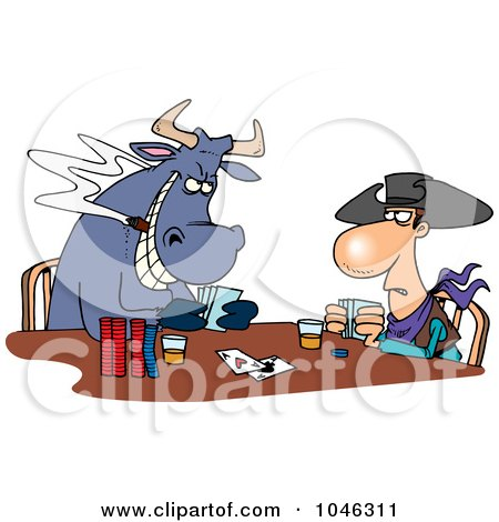 Royalty-Free (RF) Clip Art Illustration of a Cartoon Cowboy And Bull Playing Poker by toonaday