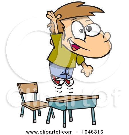 Royalty-Free (RF) Clip Art Illustration of a Cartoon School Boy Jumping Over His Desk by toonaday