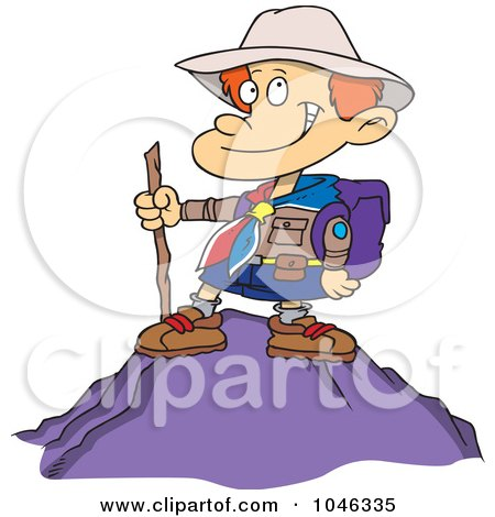 Royalty-Free (RF) Clip Art Illustration of a Cartoon Boy On Top Of A Mountain by toonaday