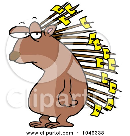 Royalty-Free (RF) Clip Art Illustration of a Cartoon Porcupine With Memos On His Quills by toonaday