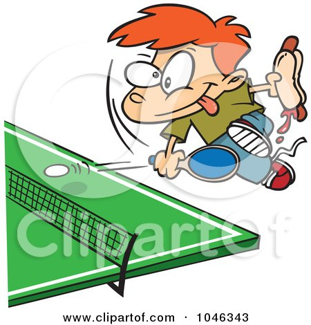Royalty-Free (RF) Clip Art Illustration of a Cartoon Boy Holding A Hot Dog And Playing Ping Pong by toonaday