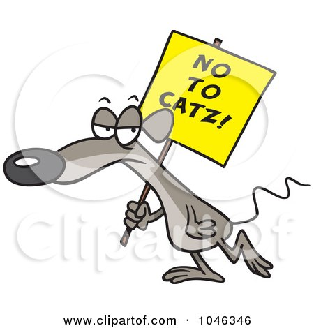 Royalty-Free (RF) Clip Art Illustration of a Cartoon Mouse Carrying A No To Catz Sign by toonaday