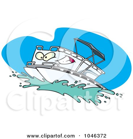 Royalty-Free (RF) Clip Art Illustration of a Cartoon Pontoon Boat Character by toonaday
