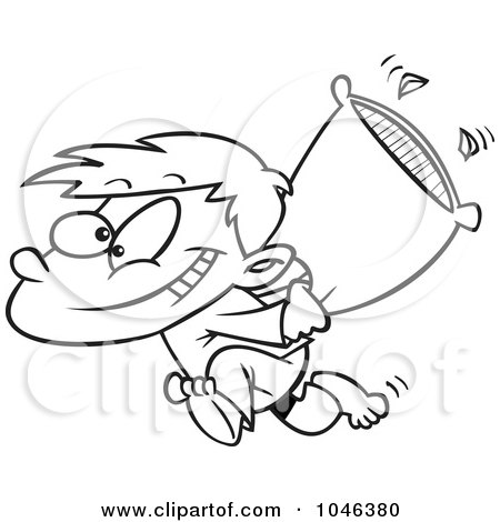 Royalty Free RF Clip Art Illustration Of A Cartoon Black And White Outline Design Boy Starting Pillow Fight By Toonaday