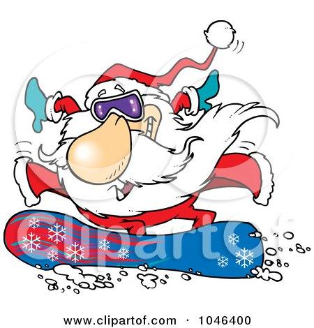 Cartoon Santa Snowboarding Posters, Art Prints
