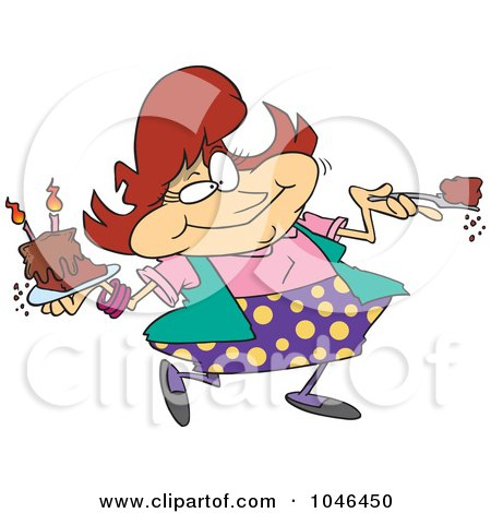 Royalty-Free (RF) Clip Art Illustration of a Cartoon Woman Eating Birthday Cake by toonaday