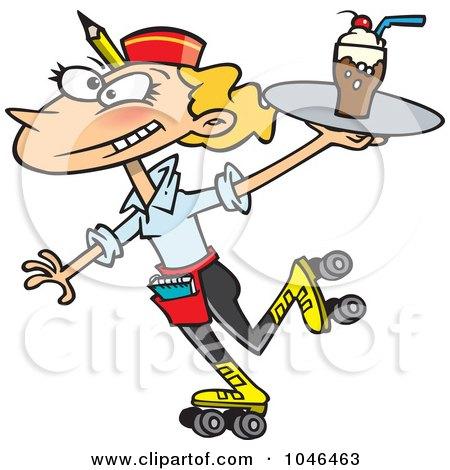 Royalty-Free (RF) Clip Art Illustration of a Cartoon Car Hop Waitress On Skates by toonaday