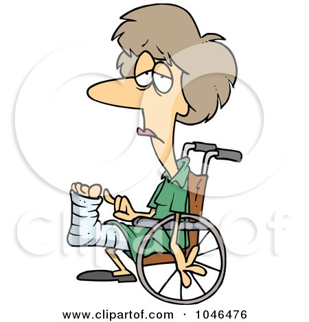 Royalty-Free (RF) Clip Art Illustration of a Cartoon Depressed Woman In A Wheelchair by toonaday