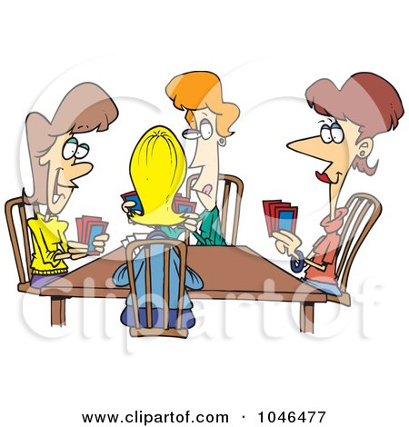Royalty-Free (RF) Clip Art Illustration of a Cartoon Ladies Playing Cards by toonaday