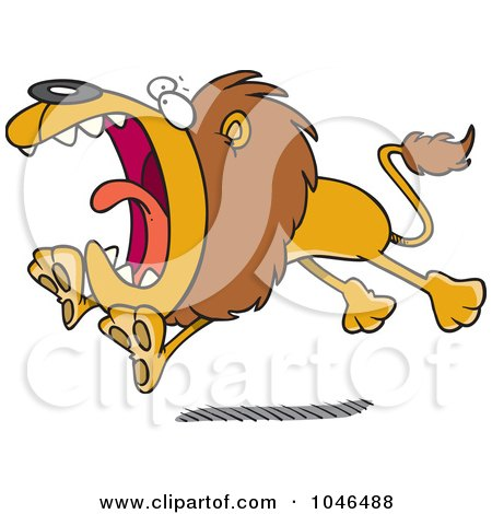 Royalty-Free (RF) Clip Art Illustration of a Cartoon Attacking Lion by toonaday