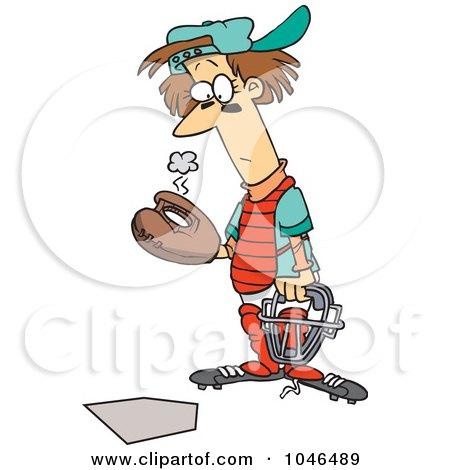 Royalty-Free (RF) Clip Art Illustration of a Cartoon Baseball Catcher by toonaday