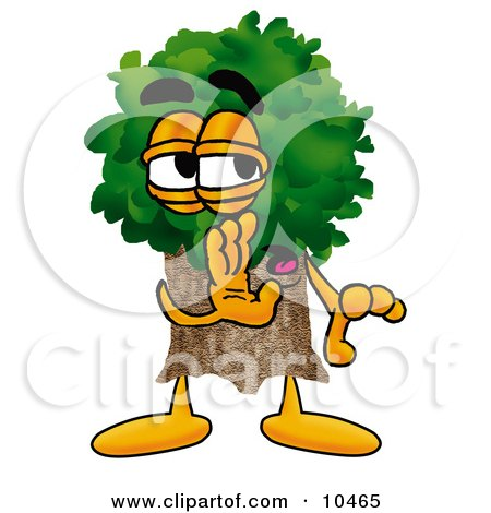 Tree Mascot Cartoon Character Whispering and Gossiping Posters, Art Prints