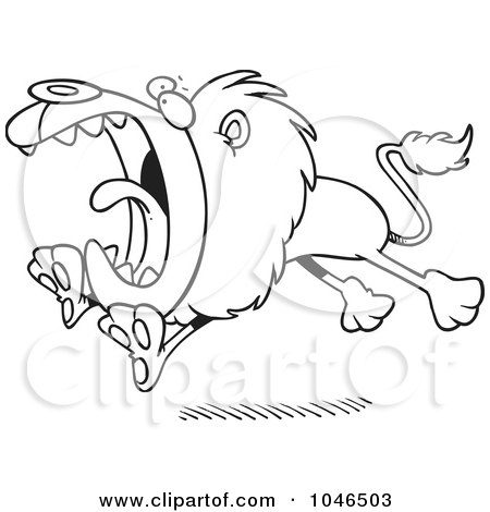Royalty-Free (RF) Clip Art Illustration of a Cartoon Black And White Outline Design Of An Attacking Lion by toonaday