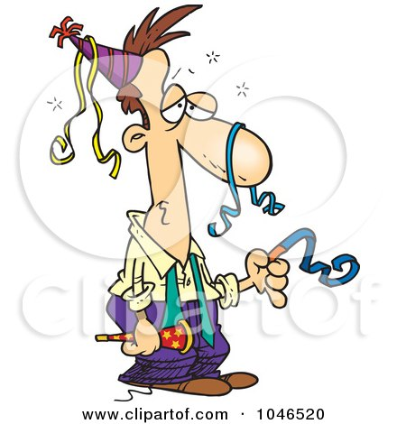 Royalty-Free (RF) Clip Art Illustration of a Cartoon Exhausted Businessman After A Party by toonaday