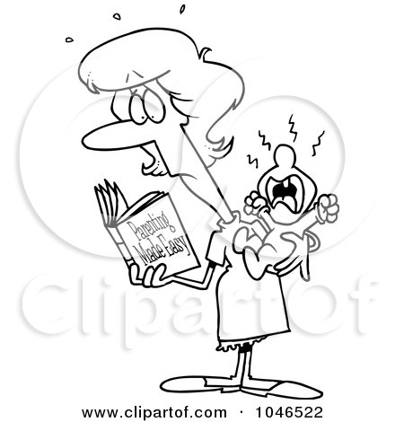 Royalty-Free (RF) Clip Art Illustration of a Cartoon Black And White Outline Design Of A New Mom Reading A Parenting Book by toonaday