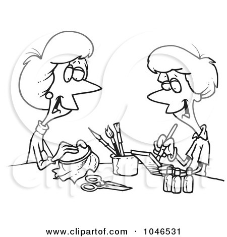 Royalty-Free (RF) Clip Art Illustration of a Cartoon Black And White Outline Design Of Women Doing Crafts by toonaday