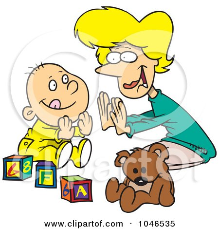Royalty-Free (RF) Clip Art Illustration of a Cartoon Mom Playing Patty Cake With Her Baby by toonaday