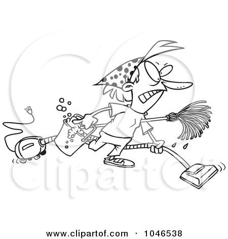 Royalty-Free (RF) Clip Art Illustration of a Cartoon Black And White Outline Design Of A Grumpy Woman Spring Cleaning by toonaday