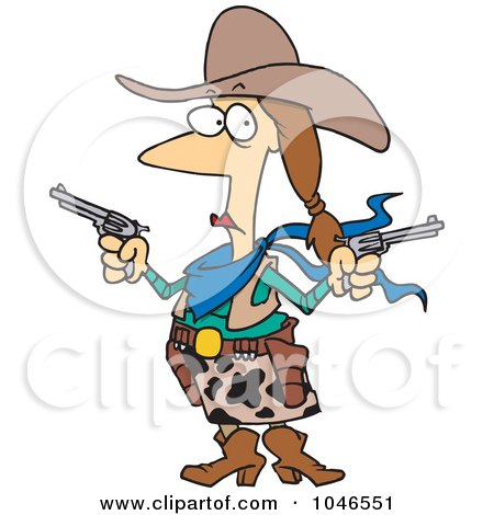 Royalty-Free (RF) Clip Art Illustration of a Cartoon Cowgirl Holding Guns by toonaday
