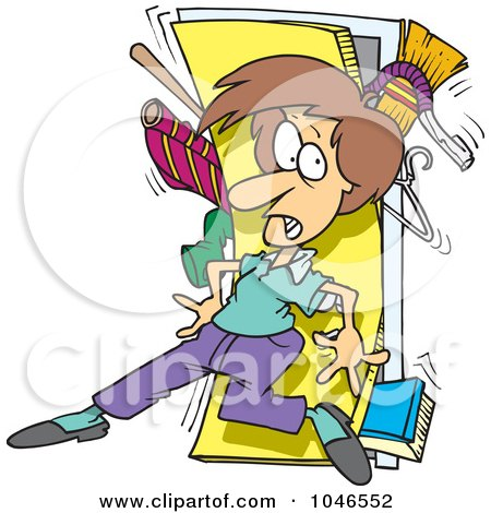 Cartoon Woman With A Messy Closet By Toonaday