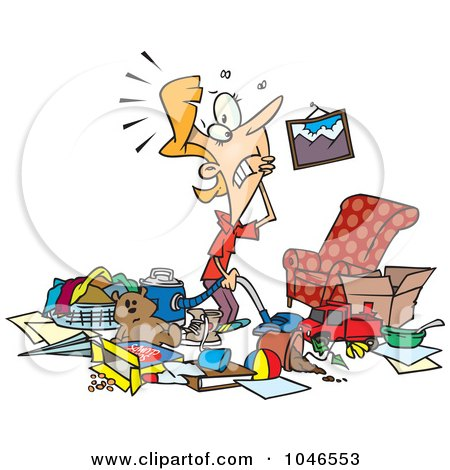Royalty-Free (RF) Clip Art Illustration of a Cartoon Woman With A Messy Living Room by toonaday