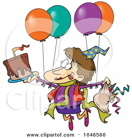 Royalty-Free (RF) Clip Art Illustration of a Cartoon Birthday Party Woman by toonaday