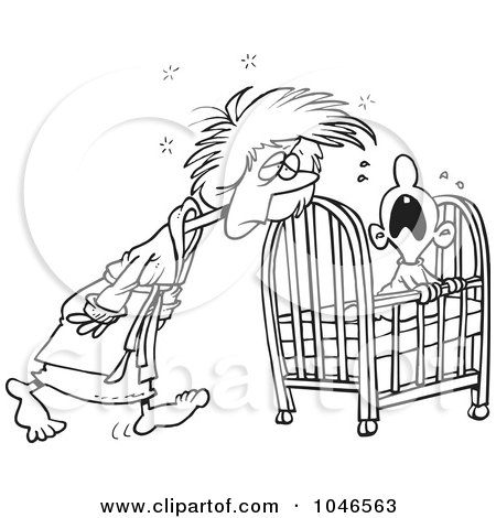 Royalty-Free (RF) Clip Art Illustration of a Cartoon Black And White Outline Design Of A Tired Mother Tending To Her Baby by toonaday