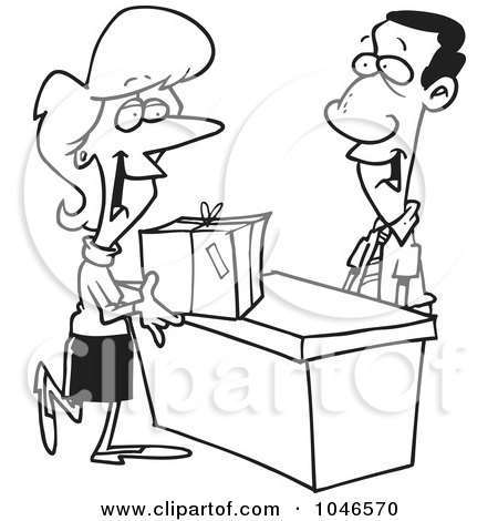 Royalty-Free (RF) Clip Art Illustration of a Cartoon Black And White Outline Design Of A Woman Shipping A Package by toonaday
