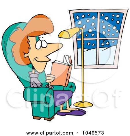 Royalty-Free (RF) Clip Art Illustration of a Cartoon Comfortable Woman Reading A Book by toonaday