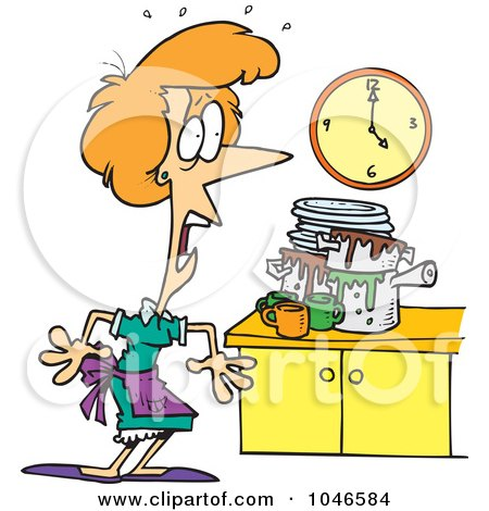 Royalty-Free (RF) Clip Art Illustration of a Cartoon Woman Panicking In A Messy Kitchen by toonaday